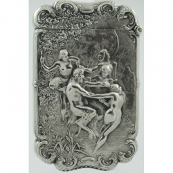 Match Safe Vesta W. B. Kerr Pan with Nudes c1900 Sterling Silver
