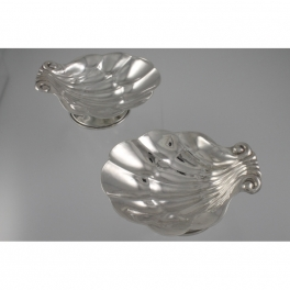 Carl Poul Petersen Shell Motif Salts Pair Sterling Silver c1960
