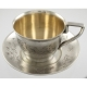 Tea Cup and Saucer   Silver 911/1000   Russia