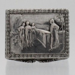 Pill Box Silver Embossed Classical Scene Continental Europe