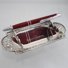 Pen Rest Gorham Sterling c1891 Engraved with Bruce E. Shaver