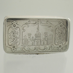 Snuff Box Georgian c1800 Silver Castle Engraving