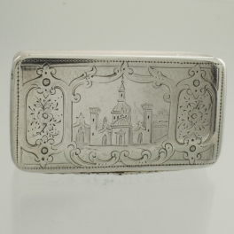 Snuff Box Georgian c1800 Silver Castle Engraving