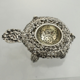 Tea Strainer .800 Silver Germany c1900 Baroque Style