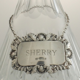 Decanter Label Sterling Silver SHERRY c1968 London England